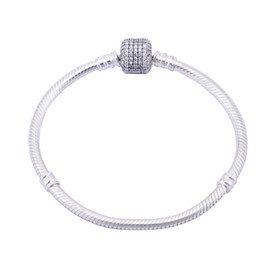 925 Sterling Silver Bracelets for European Beads Rhinestone Buckle Silver Snake Chain High Quality Free Shipping