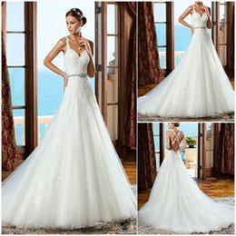 Wholesale A_line Bridal Gowns Thin Straps Sweetheart Criss_cross Back Wedding Dresses Lace Appliques Beaded Sash Tulle Court Train Vestido De Novia