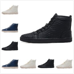 New Designer Black Snake Leather High Top Fashion Sneakers For Man and Women,Lovers Luxury Winter Autumn Spring Red Bottom Casual Shoes35-47