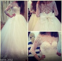 Novias Elegant Tulle Lace Bridal Wedding Dresses 2016 Bridal Gowns White Ivory Ball Gown With Sleeve Bow