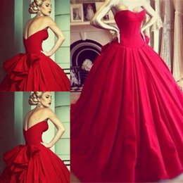 2015 Princess Wedding Dresses Red Sweetheart Ball Gown Bodics Bow Featured Back Wedding Bridal Gowns High Quality