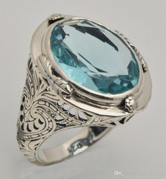 Wholesale 2015 unique design European aristocratic wind restoring ancient ways sterling silver jewelry ring palace aquamarine ring