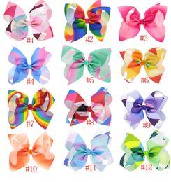 24pcs Rainbow Jojo Bows for Girls Siwa Style Hair bows Christmas Jojo Bow Hair Accessories Jojo Birthday Bow Cute Hair Wear Clips