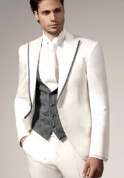 Custom Made White Suits Lapel wedding suits Tailcoat Tuxedo groom suits morning jacket Groom Tuxedos Business Suits (Jacket+pant+vest---q151