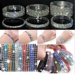 Wholesale Full rhinestone stretch charm bracelets the colorful mix of fashion women jewelry single row and double row style of the best holiday a905