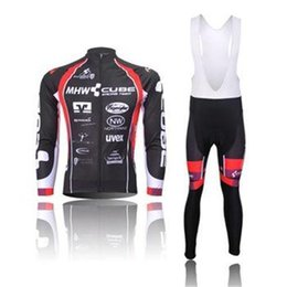 Wholesale Cube Black Thermal - 2015 Professional 2014 CUBE winter thermal long Cycling jersey and bib pants, bicycle wear