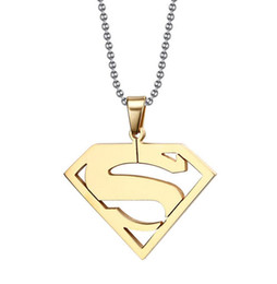 Stainless Steel Superman Pendant Necklaces Supergirl Necklace Mothers Day Birthday Gift Valentines Day Available in Silver, Gold