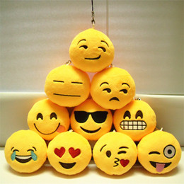 Wholesale Key Chains cm Emoji Smiley Small pendant Emotion Yellow QQ Expression Stuffed Plush doll toy for Mobile bag pendant