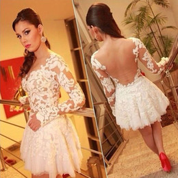 Wholesale Sexy Party Dresses Plsu Size Women Clothing Ladies Fashion Lace Hollow Out Long Sleeve Backless White Short Dress For Graduation Prom