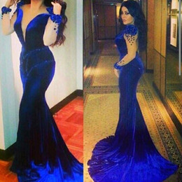 Sexy Royal Blue Mermaid Arabic Dresses Evening Wear With Sheer Long Sleeve Beaded Sweep Train Plus Size Formal Prom Gowns