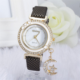100pcs lot kim seng Unique Crystal Watch Luxury Moon Pendant Wristwatches Lady Dress Watches Women Quartz Relogio Clock