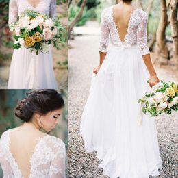 2016 Lace Chiffon Bridal Dresses Boho Lace Dress V-neck 3 4 Long Sleeves Low Back A-line Wedding Dresses With Pleats