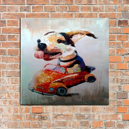 Wholesale Hand Painted Oil Painting On Canvas Stupid Dog Drive A Car Picture Home Decor For Living Room Wall Paintings Animal Pictures