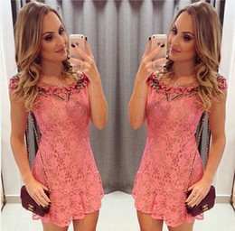 New Women Lovely Cute Crocheted Lace Floral Embroidered Vestidos Summer Casual Ruffled Frilled Party Cocktail Mini Dress