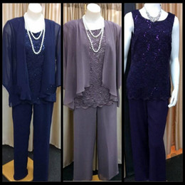2019 Lace Mother Of the Bride Pant Suits Chiffon With A Jacket For Weddings Elegant Plus Size Custom Made Pant Suits