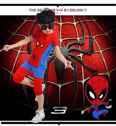 Promotion spiderman ensembles de vêtements d'été Nouveaux 95% coton Fashion Summer Boys Tracksuit SpiderMan t shit boy Children tops + Shorts pour garçons Casual Cotton Suit Boy Clothing Set