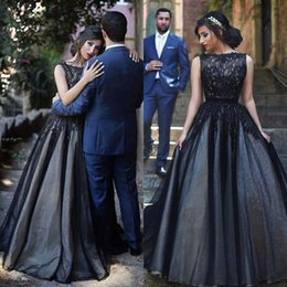 Vintage Black Arabic Wedding Dresses A Line Lace Tulle Evening Dress Custom Made Prom Gowns Bateau Neckline Sleeveless Floor Length Gown