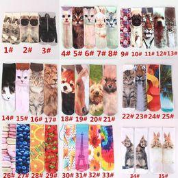 Wholesale 41 colors New D animal Long Socks Harajuku socks unisex cartoon animal print Pug French Bulldogs Canvas Shoes D Printed Socks in stock