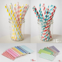 Wholesale 25PCS Pack Colorful Chevron Patterns Stripe Paper Straws Eco Friendly Drinking Paper Straws for Party Wedding Supplies ZZM