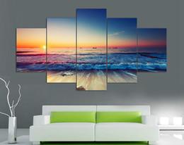 Скидка фотографии панели 5 Панель Современная печатная Морская волна Пейзаж Картина Картина на холсте Морской пейзаж Картина для гостиной Подставил искусства F / 1017