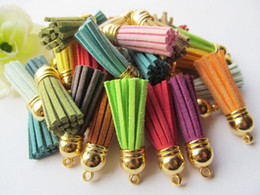 Free Shipping 100Pcs 39mm Mixed Suede Leather Jewelry Tassel For Key Chains  Cellphone Charms Top Plated End Caps Cord Tip