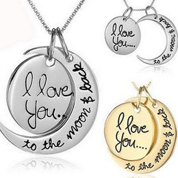 """New Arrival """"I Love You To The Moon and Back"""" Pendant Necklace Jewelry Woman Fashion Chain Statement Necklace Vintage Silver Gold Jewelry GM"""
