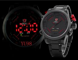 Wholesale Shark Military Sports Watch - SHARK Analog Digital LED Display Stainless Full Steel Black Red Dial Date Day Alarm Mens Sports Outdoor Quartz Wrist Military Watch SH105