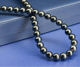 Tahitian Black Pearl Necklace round natural seawater 8-9mm black 18inch authentic special