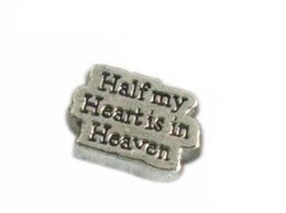 Wholesale 20PCS Half my heart is in Heaven DIY Alloy Floating Locket Charms Fit For Magnetic Living Locket Pendant Fashion Jewelrys