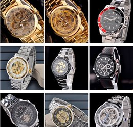 Wholesale 2015 Gold Watch Mens Skeleton Mechanical Fashion Luxury Watch Stainless Drop Shipping MCE