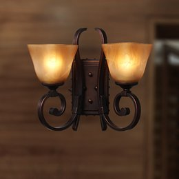 Wholesale 2016 Sale Time limited Abajur European style Wall Lamp Bedside Antique Double Bedroom Mirror Front Lamps Bathroom Lights Iron Retro Aqb012