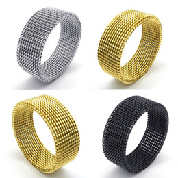 Wholesale-Free shipping 316L stainless steel wide 8MM black mesh rings retro punk gothic jewelry gift Silver Black Gold Ring fine jewelry