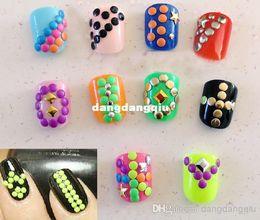 Wholesale-10 Wheels 5000pcs Fluorescent Neon Color Metal Studs 2-3mm Square Round Mix Studs Nail Art Rhinestone Decoration Beads Manicure