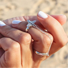 Wholesale Rings Jewelry Fashion Gold Silver Plated Alloy Bees Knuckle Rings Personality Women Brand New Chained Finger Cluster Rings Jewelry SR409