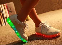 8 Colors LED luminous shoes unisex sneakers 2015 men & women sneakers USB charging light shoes colorful glowing leisure flat shoes