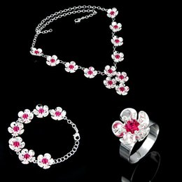 Descuento piedras preciosas conjunto de plata de ley El más reciente ronda de Ruby cuarzo de la piedra preciosa 925 Anillo Collar Pulsera libra esterlina de plata conjuntos de joyería joyería de la boda