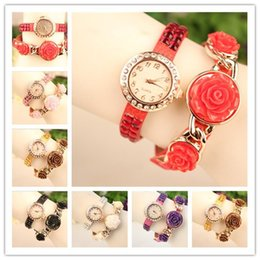 Rose Wrap Women Lady Leather Wrist Watches Round Dial Charming Bracelets Quartz Movement Mix Colors DHL Drop Free Shipping