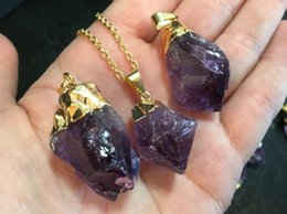 "16"" Raw Amethyst Point Pendant Necklace    Amethyst Gemstone Necklace Available in Gold or Silver Electroplated   Raw Amethyst BEAUTIFUL"