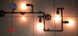 5 Light Water Pipe Wall Lamp Vintage Aisle Lamp Loft Iron Wall Lamp Perfectly Matching E27 Edison Incandescent Light Bulb