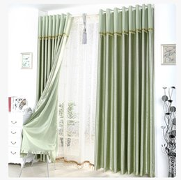 Satin Blackout Curtain Thick Shade Sunshade Blackout Cloth Curtains Living Room Bedroom Great Quality Curtains with Lace Head Drape