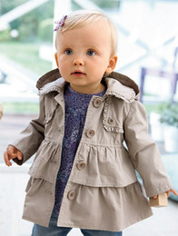 European Girl Lace Tench Coat Branded Children Clothing Kids Double Hem Wind Coat Kid Jacket Solid Outwear Girls Clothes Red Khaki CY130