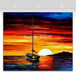 Palette Knife Oil Painting Sailing Boat Charming Dust Seascape Mural Art Picture Printed On Canvas For Office Home Wall Decor