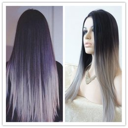Wholesale Silk Straight Gray Synthetic Wig Glueless Ombre Tone Color Black And Grey Heat Resistant Hair Wigs Hot
