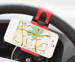 Wholesale Car Steering Wheel Mount Holder Rubber Band For iPhone iPod MP4 GPS Mobile Phone Holders