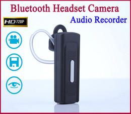 2017 bluetooth auriculares cámara espía Grabador de detección de movimiento ocultado DVR espía auricular de Bluetooth del receptor de cabeza de la cámara 720P HD mini cámara de vídeo audio bluetooth auriculares cámara espía oferta