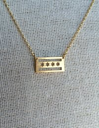 Wholesale 10pcs Gold Silver US State City Chicago Flag Necklace American USA United States City Flag Necklaces Jewelry