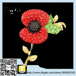 Wholesale Promotional china manufacture New Design Hot Sale Sparkle Red Crystal Rhinestone Poppy Brooch Pins Poppy Brooch