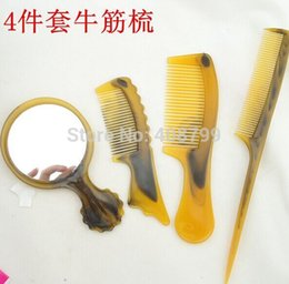 Wholesale Freeship by DHL Fedex Traditional Natural Comb Mirrors Fold Flat types Comb Health care Beef tendon Comb set