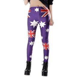 Europa y los Estados Unidos impresión digital polainas femeninas La bandera australiana mercerizing poliéster panty Verano desgaste desde polainas de la impresión de poliéster proveedores