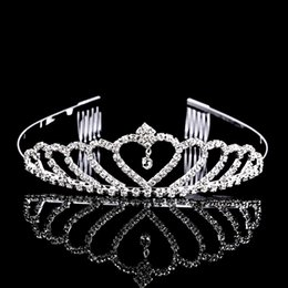 Wholesale 10PCS Hot Sale Rhinestone Princess Crown Tiara Sliver Plated Hair Combs Party Birthday Jewelry Women s Girl s Gift
